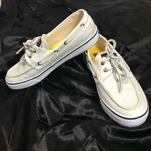 NEW! Sperry top sides white sequined boat shoes